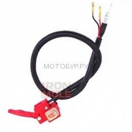 Рычаг газа с кнопкой и тросиком для мотобуров Iron Mole E43, E53, E73
